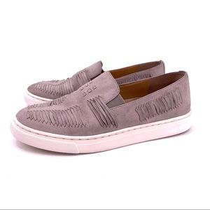 Vince Camuto Beyza Gray Leather Slip On Sneakers